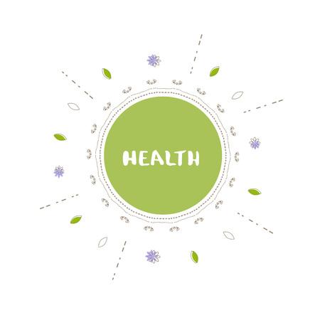Gezondheid ronde banner met willekeurige decoratieve vormen. Handgeschreven letters geïsoleerd op een witte achtergrond. Vector Illustratie
