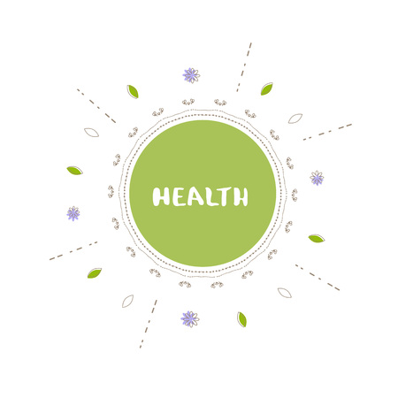 Health round banner with random decorative shapes. Handwritten lettering isolated on white background. Ilustração