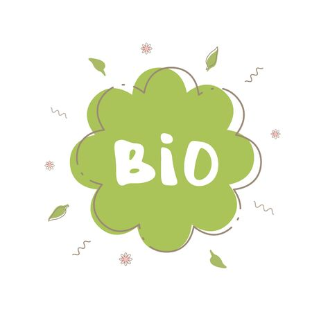 Bio flower banner with random decorative shapes and frame.