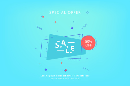 Sale Special Offer card. Sliced lettering with geometric shapes. Element for graphic design - banner, ad, poster, flyer, tag, coupon, card. Vector illustration.