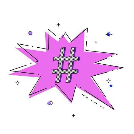 Hand drawn Hashtag sign with speech bubble isolated. Element for graphic design - blog, social media, banner, poster, flyer, card. Vector illustration. Illustration