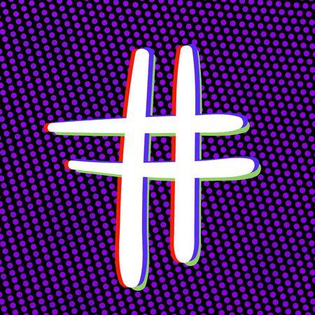 Hand drawn Hashtag sign. Number symbol. Glitch chromatic aberration effect. Element for graphic design - blog, social media, banner, poster, flyer, card. Vector illustration. Illustration