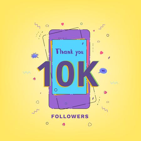 Thank you 10K followers vivid card. Template for Social Network. Vector illustration.