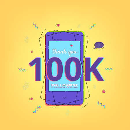 Thank you 100K followers vivid card with phone. Memphis style. Template for Social Network. Vector illustration.