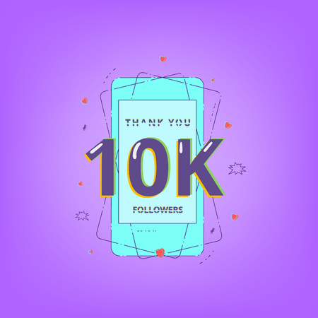Thank you 10K followers card. 10000 subscribers message for posting. Template for Social Network. Vector illustration. Illusztráció