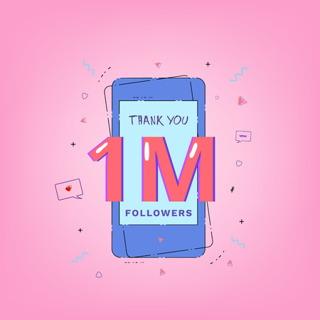 1M Followers thank you. Template for social media post. Glitch chromatic aberration style. One million subscribers banner with phone for networks. Vector illustration. Illustration
