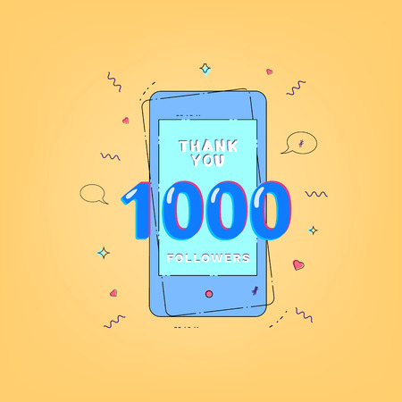 1000 Followers banner with phone. Template for social media. Vector illustration.