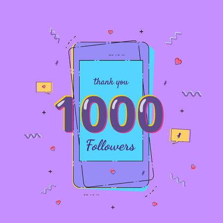 1000 Followers banner with phone. Template for social media post. Ultra violet palette colors. Vector illustration.