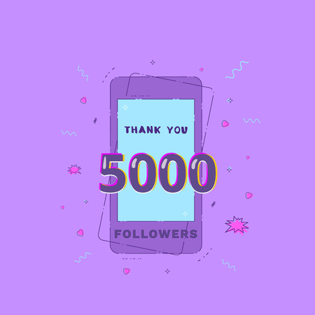 5000 Followers vivid banner with phone. 5K subscribers message. Template for social media post. Ultra violet palette colors. Vector illustration.