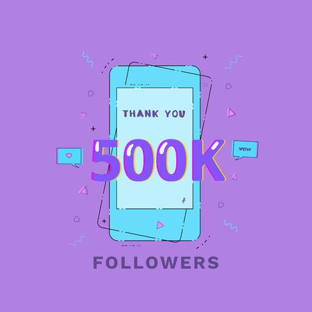 500K Followers thank you vivid card. Template for social media post. Glitch chromatic aberration style. Ultra violet palette colors. 500000 subscribers banner. Vector illustration. Illusztráció