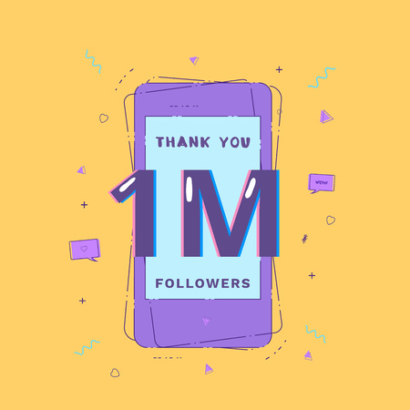1M Followers thank you. Template for social media post. Glitch chromatic aberration style. One million subscribers banner for networks. Vector illustration.