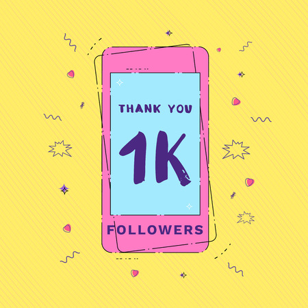 1K Followers thank you message with phone and random items. Template for social media post. Glitch chromatic aberration style. 1000 subscribers memphis style banner. Vector illustration.