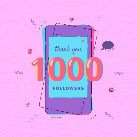 1000 Followers thank you card with phone Template for social media post. Glitch chromatic aberration style. 1K subscribers vivid banner. Vector illustration. Vektoros illusztráció