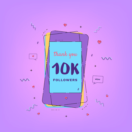 10K Followers thank you card with phone. Template for social media post. Glitch chromatic aberration style. 10000 subscribers banner. Vector illustration. Ilustração