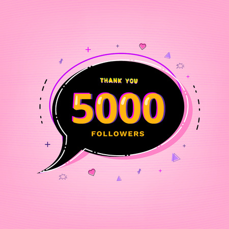 5000 Followers thank you vivid card with speech bubble. Template for social media post. Glitch chromatic aberration style. 5K subscribers banner. Vector illustration. Vettoriali