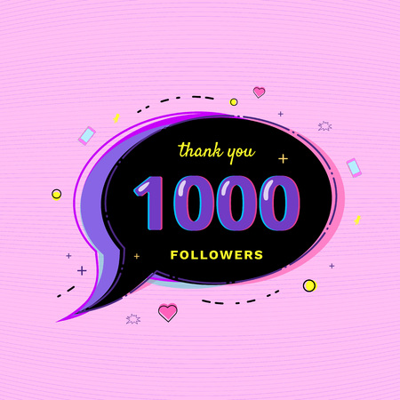 1000 Followers thank you message with speech bubble and random items. Template for social media post. Glitch chromatic aberration style. 1K subscribers banner for social networks. Vector illustration. Vektoros illusztráció