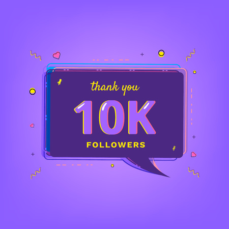10K Followers thank you message with speech bubble. Template for social media post. Glitch chromatic aberration style. Ultra violet palette colors. 10000 subscribers banner. Vector illustration.