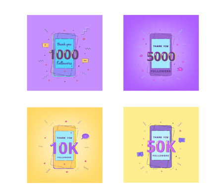 1000, 5000, 10K, 50K Followers thank you cards. Template for social media post. Glitch chromatic aberration style. Set of Subscribers banners. Vector illustration. Ilustração