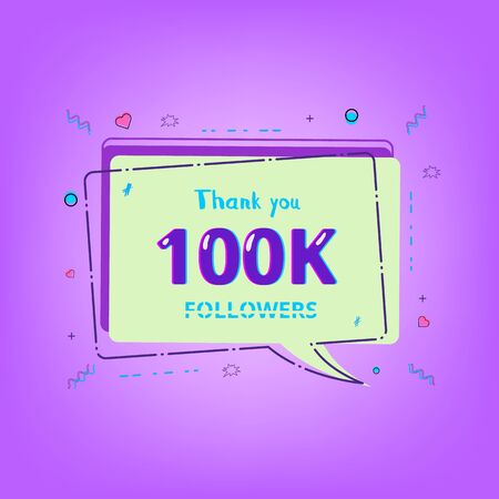 100K Followers thank you phrase with random items. Template for social media post. Glitch chromatic aberration style. Ultra violet palette colors. 100000 subscribers banner. Vector illustration.