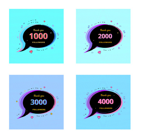 Thank you followers Banners. Set of 1000, 2000, 3000, 4000 followers card for social media networks. Template for post. Glitch chromatic aberration style. Subscribers banner. Vector illustration.