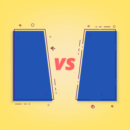 Versus banner. VS screen with frames. Element for graphic design - ad, poster, flyer, tag, coupon, invitation card. Vector illustration.