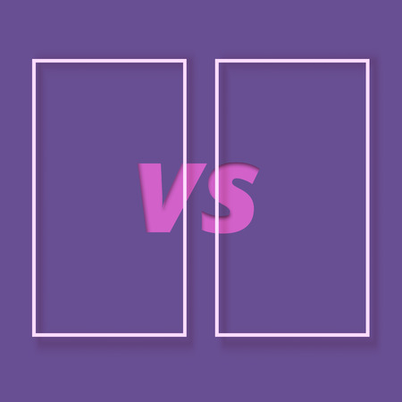 Versus banner. VS screen with frames. Paper cut effect. Element for graphic design - ad, poster, flyer, tag, coupon, invitation card. Vector illustration.