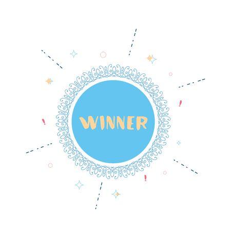 Winner round banner with vintage frame. Handwritten doodle lettering. Templates for social media post. Vector illustration. Vettoriali
