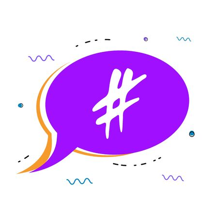 Hand drawn Hashtag sign with speech bubble isolated. Glitch chromatic aberration trendy effect. Element for graphic design - blog, social media, banner, poster, flyer, card. Vector illustration.