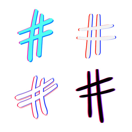 Set of Hand drawn Hashtag sign isolated. Number symbol. Glitch chromatic aberration effect. Element for graphic design - blog, social media, banner, poster, flyer, card. Vector illustration.