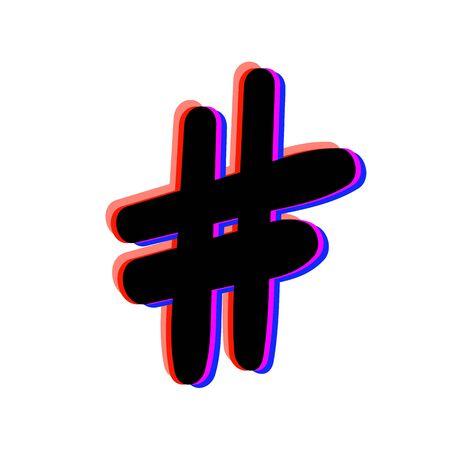 Hashtag sign isolated. Number symbol. Glitch chromatic aberration effect. Element for graphic design - blog, social media, banner, poster, flyer, card. Vector illustration.