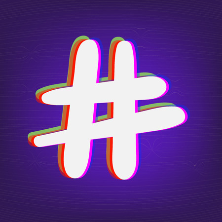 Hand drawn Hashtag sign isolated. Number symbol. Glitch chromatic aberration effect. Element for graphic design - blog, social media, banner, poster, flyer, card. Vector illustration. Illustration