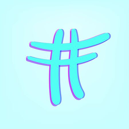 Hashtag sign isolated. Number symbol. Glitch chromatic aberration effect. Element for graphic design - blog, social media, banner, poster, flyer, card. Vector illustration.