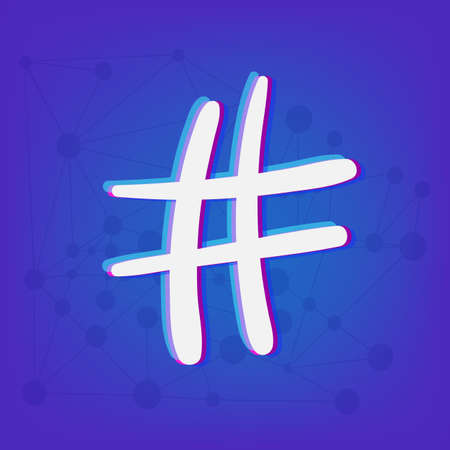 Hashtag sign isolated. Number symbol. Glitch chromatic aberration effect. Vector illustration. Ilustração