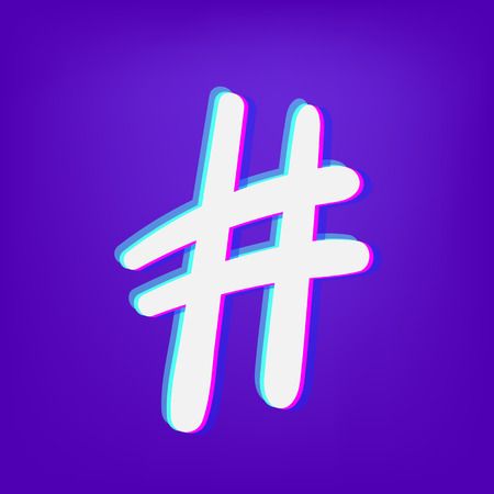 Hashtag sign. Number symbol. Glitch chromatic aberration  effect. Element for graphic design - blog, social media, banner, poster, flyer, card. Vector illustration.