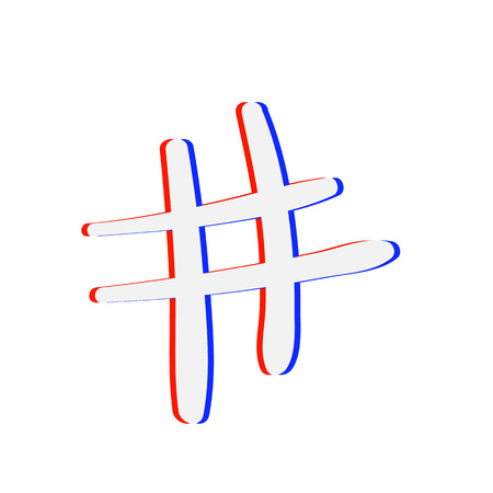 Hashtag sign isolated. Number simbol. Glitch chromatic aberration  effect. Element for graphic design - blog, social media, banner, poster, flyer, card. Vector illustration. Ilustração