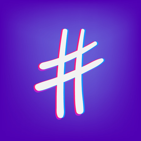 Hand drawn Hashtag sign isolated. Number symbol. Glitch chromatic aberration  effect. Element for graphic design - blog, social media, banner, poster, flyer, card. Vector illustration.