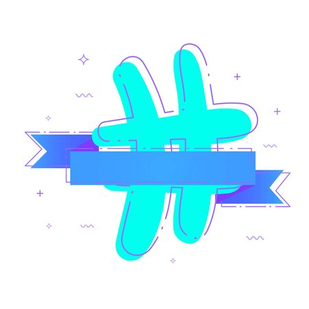 Hashtag sign with ribbon. Number symbol.  Vector illustration.