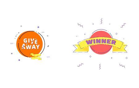 Giveaway and Winner set. Vector illustration.