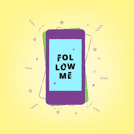 Follow me card with speech phone. Glitch effect sliced text style vector illustration. Illustration