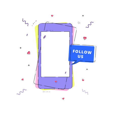 Follow us phrase with phone and speech bubble. Vector illustration.  Illustration