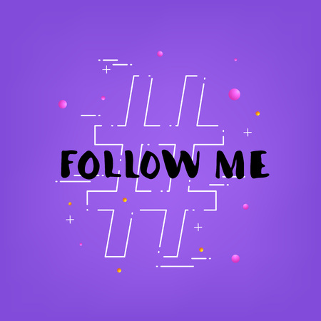 Follow me handwritten lettering with hashtag. Vector illustration.  Vettoriali