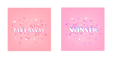 Giveaway and winner cards set vector illustration.