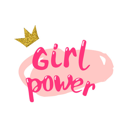 Girl power composition vector illustration.