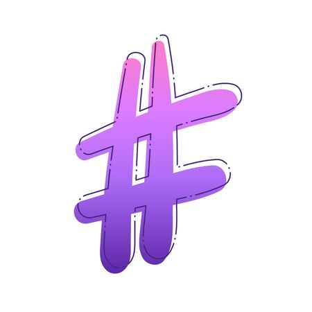 Hashtag sign isolated, number symbol. Element for graphic design blog, social media, banner, poster, flyer, card vector illustration.