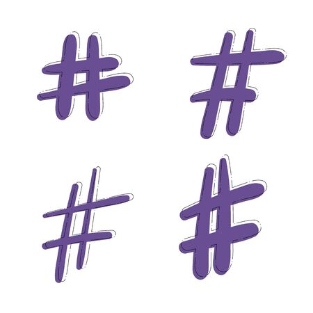Hand drawn Hashtag sign isolated. Number simbol. Glitch chromatic aberration  effect. Element for graphic design - blog, social media, banner, poster, flyer, card. Vector illustration.
