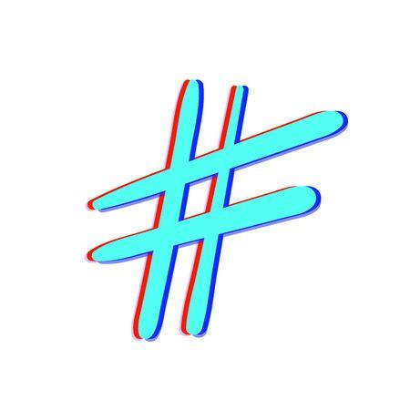 Hashtag sign isolated. Number simbol. Glitch chromatic aberration  effect. Element for graphic design - blog, social media, banner, poster, flyer, card. Vector illustration. Illustration