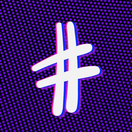 Hashtag sign isolated. Number symbol. Glitch chromatic aberration  effect. Element for graphic design - blog, social media, banner, poster, flyer, card. Vector illustration. Illustration