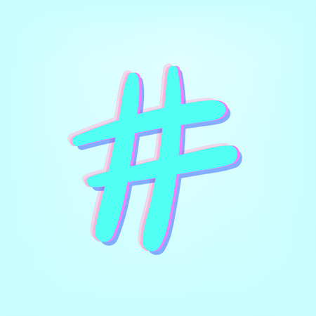 Hashtag sign isolated number symbol. Glitch chromatic aberration effect. Element for graphic design blog, social media, banner, poster, flyer, card. vector illustration.