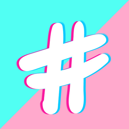 Hashtag sign isolated. Number simbol. Glitch chromatic aberration  effect. Element for graphic design - blog, social media, banner, poster, flyer, card. Vector illustration. Illustration