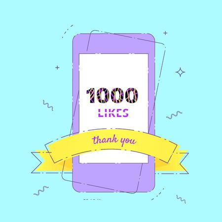 1000 likes  thank you banner with phone. Post for social media. Vector llustration.